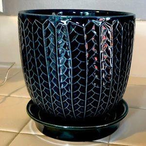 USED Blue planter pot 5'' diameter